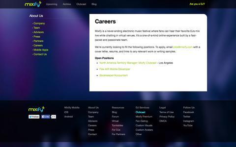 Screenshot of Jobs Page mixify.com - Careers - Mixify Blog - captured Nov. 4, 2014