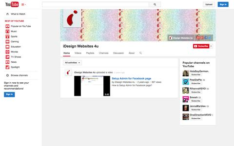 Screenshot of YouTube Page youtube.com - iDesign Websites 4u  - YouTube - captured Oct. 23, 2014