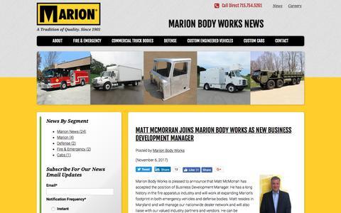 Screenshot of Press Page marionbody.com - News   Marion Body Works - captured Nov. 7, 2017