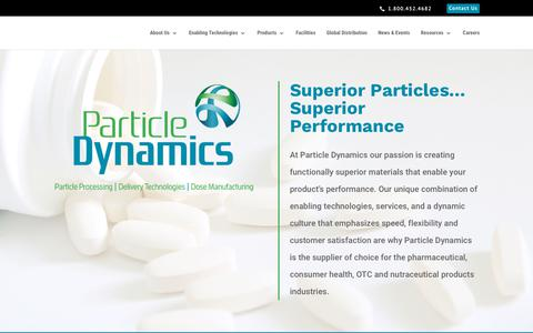 Screenshot of Home Page particledynamics.com - homepage - Particle Dynamics - captured Oct. 22, 2018