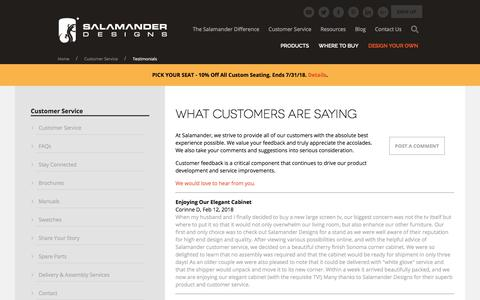 Screenshot of Testimonials Page salamanderdesigns.com - Testimonials - Salamander | Custom AV Furniture | Home  - Salamander Designs - captured July 27, 2018