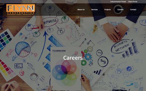 Screenshot of Jobs Page flynn-construction.com - Flynn Construction - Management General Contracting Inc. - captured Oct. 10, 2018