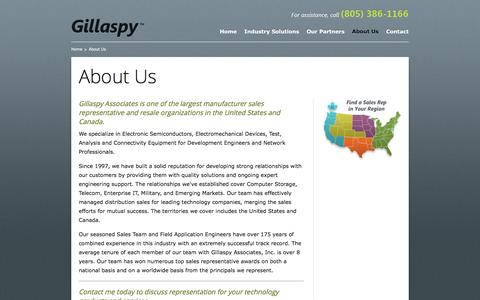 Screenshot of About Page gillaspysales.com - About Us - Gillaspy Associates - captured Nov. 7, 2016