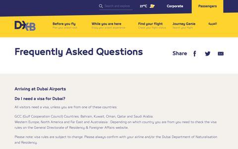 Screenshot of FAQ Page dubaiairports.ae - FAQs   Dubai Airports - captured Feb. 15, 2019