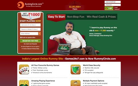 Screenshot of Home Page rummycircle.com - Rummy Online | Play Free Indian Rummy, 13 Card Games - captured Aug. 20, 2016