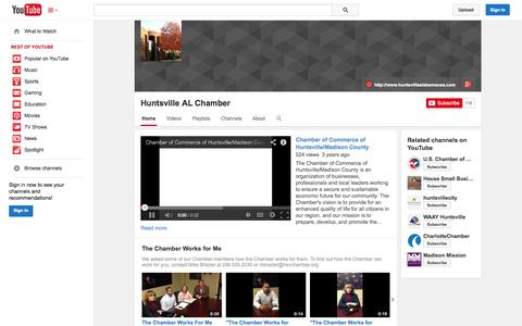 Screenshot of YouTube Page youtube.com - Huntsville AL Chamber  - YouTube - captured Oct. 22, 2014