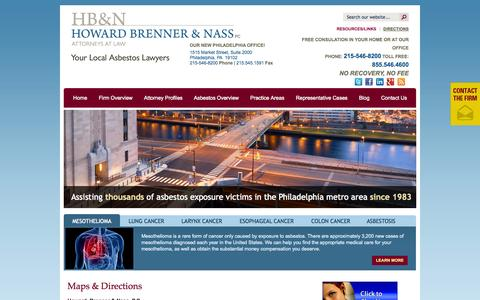 Screenshot of Maps & Directions Page hbnlawfirm.com - Directions to the Asbestos Cancer and Mesothelioma Attorneys of Philadelphia  Howard, Brenner & Nass Law Firm - captured Oct. 3, 2014