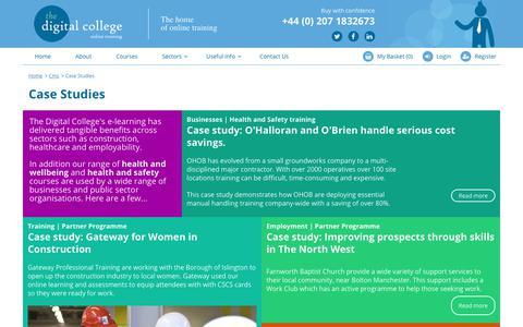 Screenshot of Case Studies Page thedigitalcollege.co.uk - Case Studies | Digital College - captured Nov. 7, 2018