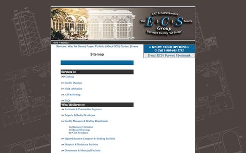 Screenshot of Site Map Page ecs-cadcafm.com - Sitemap for Existing Conditions Surveys, Building Surveys, As-Built Floorplans by ECS CAD & CAFM Services - captured Oct. 1, 2014