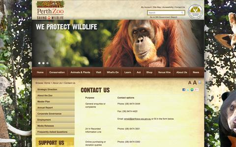 Screenshot of Contact Page perthzoo.wa.gov.au - Contact Us | Perth Zoo - captured Sept. 19, 2014