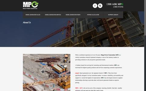 Screenshot of About Page mpgen.com.au - MPG Mega Power Generation Diesel Generator For Sale - MPG - captured March 3, 2016