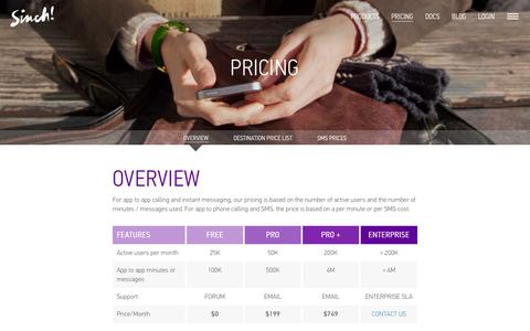 Screenshot of Pricing Page sinch.com - Pricing Overview | Voice and Messaging API | Sinch - captured Oct. 26, 2014