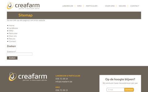 Screenshot of Site Map Page creafarm.be - Sitemap - Creafarm - captured Oct. 3, 2014