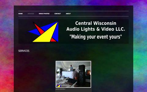 Screenshot of Services Page cwalv.com - SERVICES | CENTRAL WISCONSIN AUDIO, LIGHTS, & VIDEO LLC - captured Oct. 2, 2014