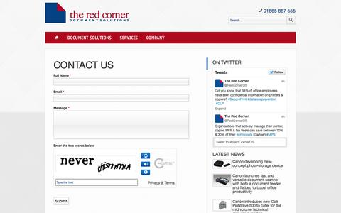 Screenshot of Contact Page theredcorner.co.uk - Contact Us | The Red Corner - captured Oct. 9, 2014
