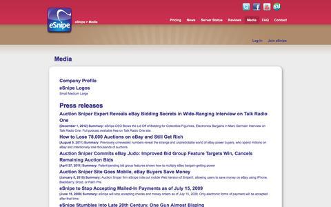 Screenshot of Press Page esnipe.com - eSnipe Media - captured July 18, 2016