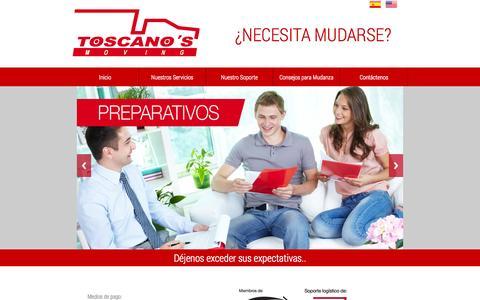 Screenshot of Home Page toscanos.com.pe - TOSCANO'S Moving (PERU), Una Mudanza por encima de sus expectativas… - captured Oct. 7, 2014