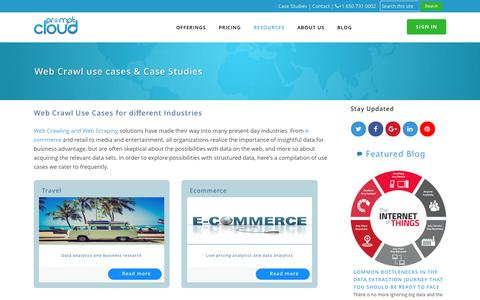 Screenshot of Case Studies Page promptcloud.com - Web Crawl uses cases, case studies & Extracted sample datas | PromptCloud - captured July 16, 2016