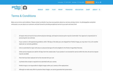 Screenshot of Terms Page perfectimagecamera.com - Terms & Conditions - Perfect Image Camera - captured Sept. 27, 2018