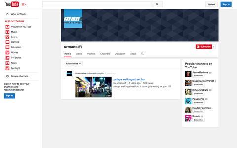 Screenshot of YouTube Page youtube.com - urmansoft  - YouTube - captured Oct. 26, 2014