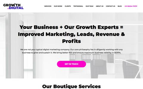 Screenshot of Home Page growth.digital - Home - Growth Dot Digital - A full-service Digital Marketing Agency - captured July 17, 2018