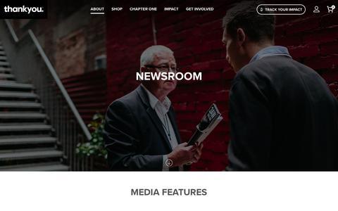 Screenshot of Press Page thankyou.co - Newsroom – Thankyou - captured Sept. 24, 2018