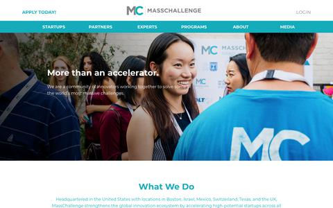 Screenshot of Home Page masschallenge.org - Home | MassChallenge - captured May 16, 2018
