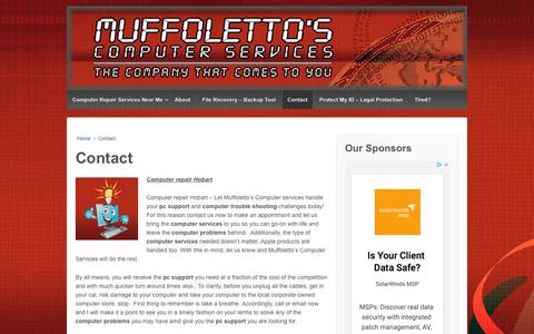 Screenshot of Contact Page muffolettocs.com - Computer repair Hobart - Muffoletto's Computer Services - captured Oct. 24, 2018