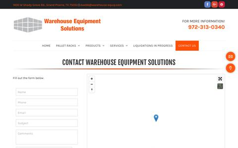 Screenshot of Contact Page warehouse-equipment-solutions.com - Warehouse Solutions - Grand Prairie, TX - Warehouse Equipment Solutions - captured Nov. 2, 2018