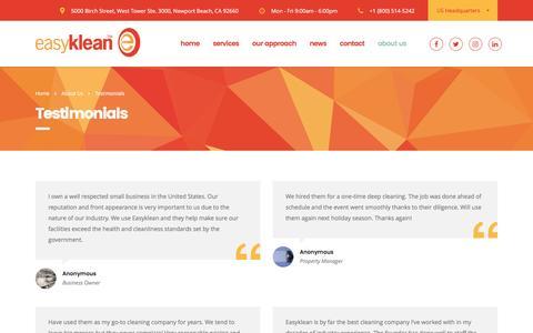 Screenshot of Testimonials Page easyklean.com - Testimonials – Easyklean - captured May 14, 2017