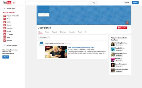 Screenshot of YouTube Page youtube.com - Judy Cohen  - YouTube - captured Oct. 23, 2014