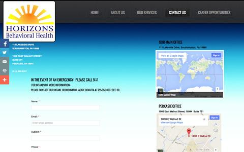 Screenshot of Contact Page Maps & Directions Page horizonsbehavioral.com - Contact Us - captured Oct. 22, 2014