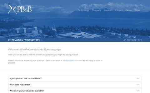 Screenshot of FAQ Page pbbtech.com - FAQ : PB&B | A Swiss MedTech Start-Up - captured July 6, 2018