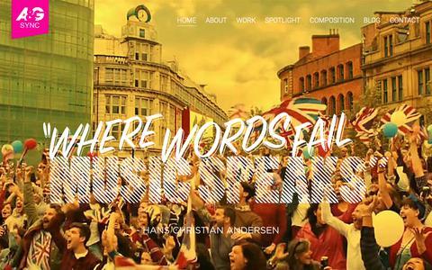 Screenshot of Home Page agsyncmusic.com - Home - A&G Sync - captured Aug. 28, 2017