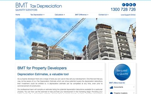 Screenshot of Developers Page bmtqs.com.au - Tax Depreciation Estimates | Property Development | BMT - captured Sept. 25, 2014