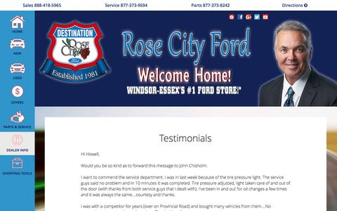 Screenshot of Testimonials Page rosecityford.com - Testimonials | Rose City Ford - captured Aug. 15, 2016