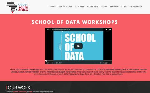Screenshot of Contact Page Services Page Team Page code4sa.org - Code4SA   Code4SA - captured Oct. 3, 2014