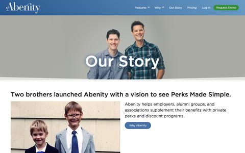 Screenshot of About Page abenity.com - Employee Perks and Benefits Reimagined | Abenity - captured April 5, 2016