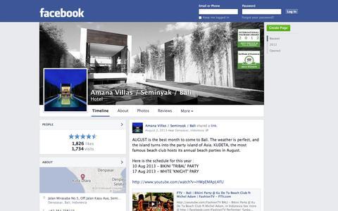 Screenshot of Facebook Page facebook.com - Amana Villas / Seminyak / Bali - Denpasar, Indonesia - Hotel | Facebook - captured Oct. 23, 2014