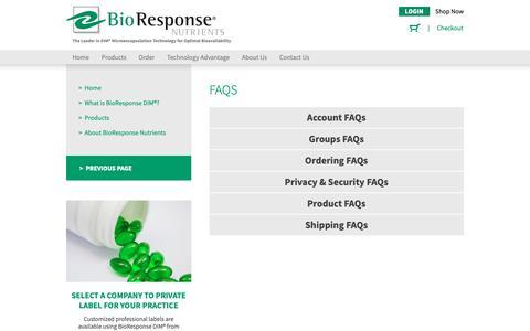 Screenshot of FAQ Page bioresponse.com - FAQs - BioResponse - captured Nov. 13, 2018
