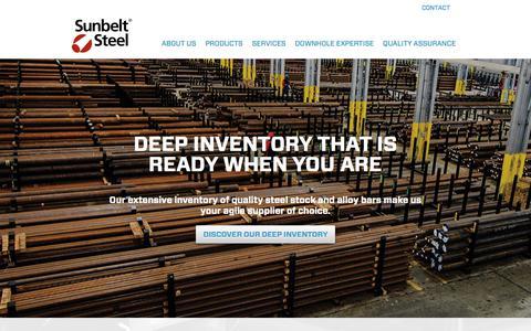 Screenshot of Home Page sunbeltsteel.com - Sunbelt Steel - Absolute Assurance in Every Bar - captured Sept. 21, 2018