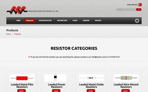 Screenshot of Products Page prpinc.com - Products  |  Precision Resistive Products - captured Sept. 29, 2018