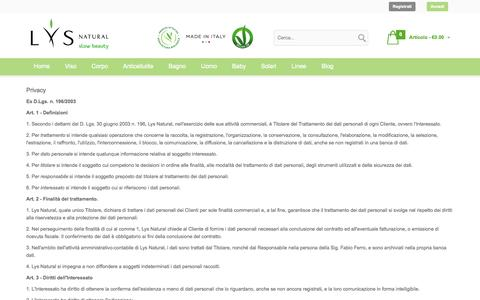 Screenshot of Privacy Page lysnatural.com - Privacy   Lys Natural - captured Sept. 25, 2014