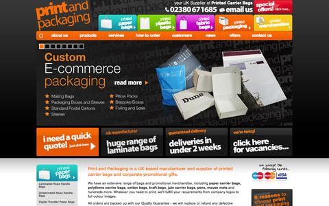 Screenshot of Home Page printandpackaging.co.uk - Printed Carrier Bags | Plastic, Paper, Cotton Bag Printing | Fast UK Delivery - captured Oct. 3, 2014