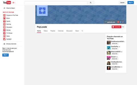 Screenshot of YouTube Page youtube.com - PayLoadz  - YouTube - captured Oct. 22, 2014
