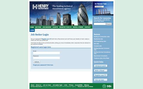 Screenshot of Login Page henryrecruitment.co.uk - Login - Henry Recruitment - captured Oct. 2, 2014