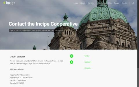 Screenshot of Contact Page incipe.ca - Contact - Incipe Cooperative - captured Jan. 1, 2017