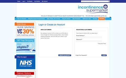 Screenshot of Login Page incontinencesupermarket.co.uk - Incontinence Supermarket: Customer Login - captured Oct. 6, 2014