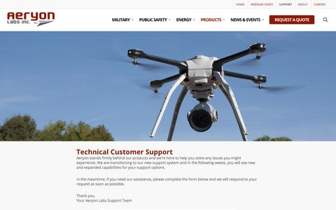 Screenshot of Support Page aeryon.com - Technical Customer Support - Aeryon Labs - captured May 9, 2017