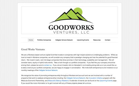 Screenshot of Home Page goodworksventures.com - Good Works Ventures - captured Sept. 30, 2014